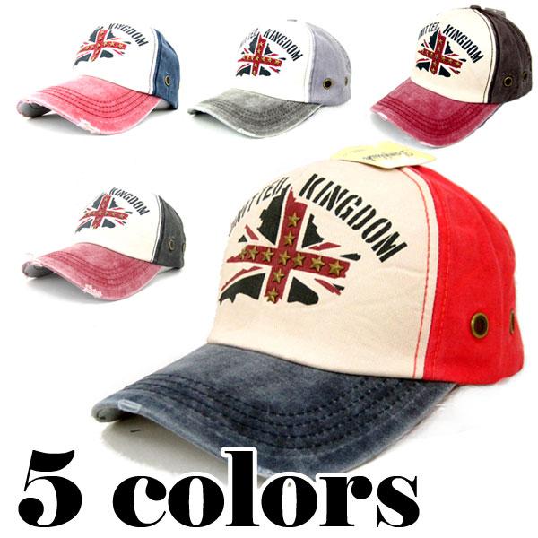 帽子 キャップ ユナイテッド・キングダム (UNITTED KINGDOM) ビンテージ風 UK ダメージ加工 野球帽 /黒 ブラック/グレー 灰色/モカ 茶色/ネイビー 青/レッド 赤 メンズ(男性用) レディース(女性用) BASEBALL CAP 5457