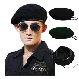 ミリタリー風 ベレー帽 フェルト帽子 ベレー ハット 大きいサイズ 無地 ミリタリーキャップ M L XL メンズ レディース BERET CAP 3405
