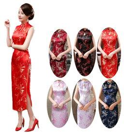 チャイナドレス ノースリーブ パーティードレス チャイナ服 梅柄 コスプレ 衣装 セクシー China Dress 1024