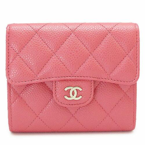 シャネル 折財布 レディース A82288 Y83470 0B694 CHANEL 財布 三つ折り マトラッセ キルティング レザー ピンク