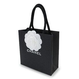 CHANEL シャネル 紙袋 正規店 ペーパーバッグ ショッパー 黒 カメリア付き 14×14×6cm【ブランド付属品】【紙袋】