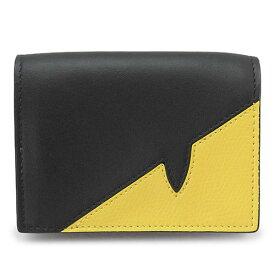 フェンディ 折財布 メンズ 7M0280 A9ZA F0R2A 財布 三つ折り ミニ財布 コンパクト財布 バッグバグズ レザー ブラック+イエロー FENDI WALLET TRIFOLD
