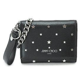 ジミーチュウ 折財布 ROLF UXI BLACK/SILVER メンズ JIMMY CHOO ロルフ スタースタッズ ウォレットチェーン 小銭入れなし レザー ブラック 黒