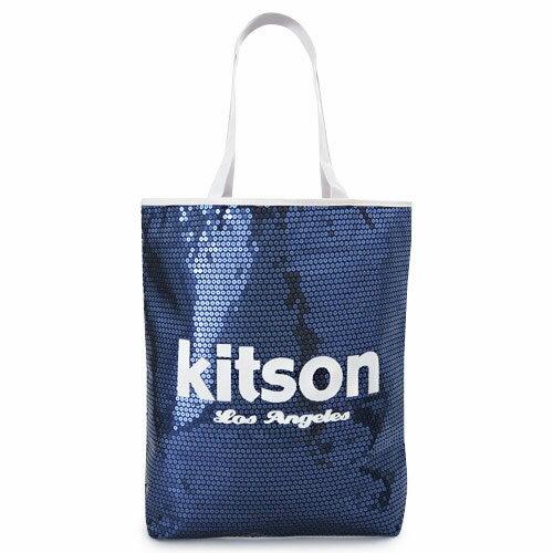 キットソン トートバッグ Kitson ショルダーバッグ スパンコール ミディアムシークインデイバッグ ネイビー×ホワイト Sequin NS Tote bag KHB0261【I LOVE BRAND/楽天】【RCP】【TKHN】