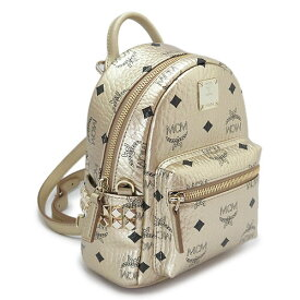MCM ミニリュックサック レディース MMK AAVE14 T1001 エムシーエム バックパック モノグラム ゴールド STARK BACKPACK IN VISETOS