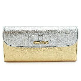 ミュウミュウ 長財布 MIUMIU 財布 二つ折りフラップ マドラスビコローレ リボン レザー クロム×プラチナ 5M1109 2E8R F0AN4/MADRAS BICOLORE CROM+PLATINO