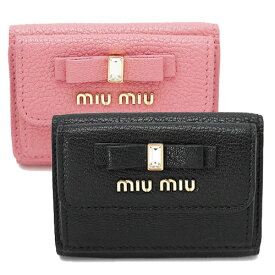 ミュウミュウ 折財布 レディース 5MH021 2D7A 三つ折り財布 ミニ財布 コンパクト財布 マドラスレザー MIU MIU MADRAS FIOCCO ボウ リボン