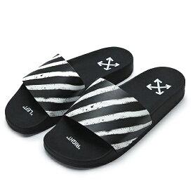 オフホワイト サンダル メンズ OMIC001R21MAT004 1001 シューズ 靴 ブラック×ホワイト OFF WHITE SPRAY STRIPES SLIDER 【2021年春夏新作】