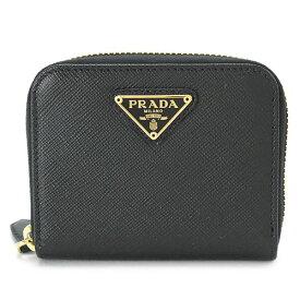 プラダ コインケース レディース 1MM268 QHH F0002 財布 小銭入れ ラウンドファスナー レザー ブラック 黒 PRADA SAFFIANO TRIANG NERO