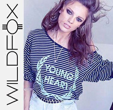 即日発送 Wildfox ワイルドフォックスYoung Heart Tee Metal Black ロングTシャツ/正規品取扱店舗/