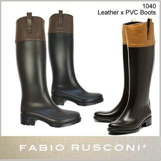 Fabio Rusconi fabiorusukonireimbutsurongureza转换Leather Band Long Rain Bootsl 1040皮革转换骑马橡胶长筒靴雷恩长筒靴/s