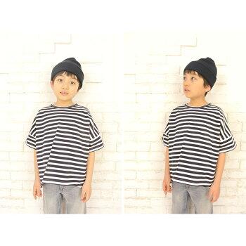 ◎日本製◎現役ママが考案◎キッズドロップショルダーボーダーTシャツ半袖◎ボーダーカットソー◎身幅ゆったりめのドロップショルダー◎後ろが長いフィッシュテールデザイン◎コットン100%◎