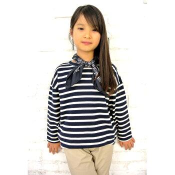 ◎日本製◎現役ママが考案◎キッズドロップショルダーボーダーTシャツ◎ゆるっとしたシルエットのボーダーTシャツ◎ボーダーカットソー◎
