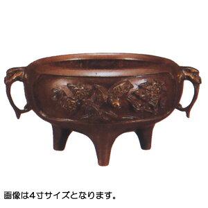 香炉 【鉄鉢前香炉 花鳥 耳付】 4.0寸