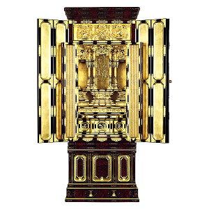 名古屋型台付 尾張3 花鳥ランマ 東 箔仕上 金仏壇
