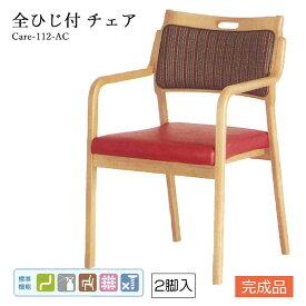 介護用チェア 介護イス 介護施設用椅子 補助【Care-112-AC/2脚セット】肘掛け付き ウェービング スタッキング ストライプ ベーシック おしゃれ