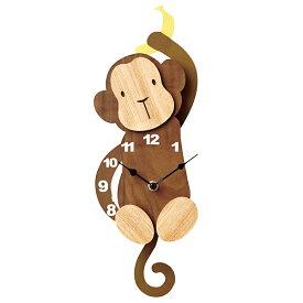 壁掛け時計 【Osaru オサル CL-9578】 掛時計 振り子時計 ウォールクロック 15cm幅 おしゃれ かわいい インテリア キッズ リビング 子供部屋 電池付き