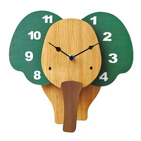 壁掛け時計 【Zou ゾウ CL-9580】 掛時計 振り子時計 ウォールクロック 26cm幅 おしゃれ かわいい インテリア キッズ リビング 子供部屋 電池付き
