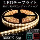 LEDテープ シリコンチューブACアダプターセットSMD2835(60)2芯電球色(3000K)5m 間接照明 カウンタ照明 棚下照明 ショーケース に最適 光...