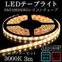 LEDテープ 防水 野外使用可能 シリコンチューブ SMD2835(60)電球色(3000K)3m ACアダプターセット 間接照明 カウンタ照明 棚下照明 に最...