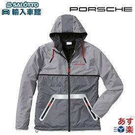 【 ポルシェ 純正 】ウィンドブレーカー グレー 軽量 フード 外側と内側にポケット付き ポリエステル100% スポーツ ジム アウトドア ジャケット ゴルフ Porsche オリジナル アクセサリー