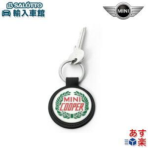 【BMW MINI 純正 】 ミニ キーリング ロゴ レザー サイズ 約9cm×5.7cm マルチカラー キーホルダー ミニクーパー のヴィンテージ・ロゴ入り キー リング オリジナル アクセサリー