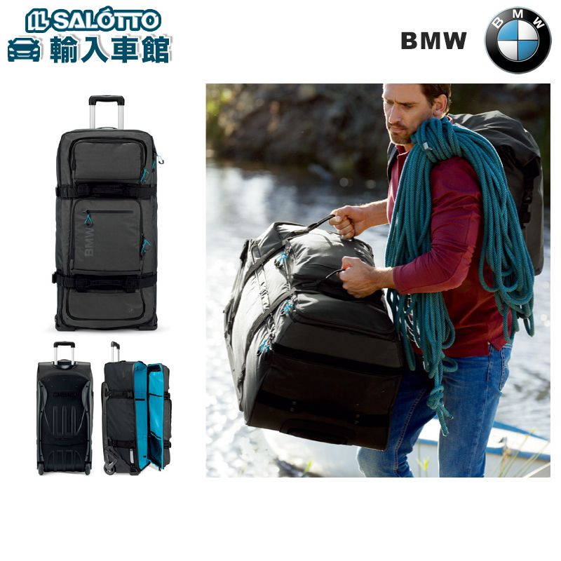 【 BMW 純正 】 トローリーケース キャリーバッグ アンソラジット OGIO製 サイズ:約87×41.4×33cm カラー:ブラック/ブライトブルー 耐水性 防水性 軽量 伸縮自在 の キャリーハンドルケース
