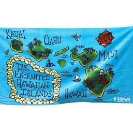 """【タイムセール10%OFF】ヘザーブラウン/HEATHER BROWN""""BEACH TOWELS・HAWAII MAP・ハワイマップ""""デザインプリントビーチタオル・ブランケット(ハワイマップ)HB0105MT/HAWAII MAP"""