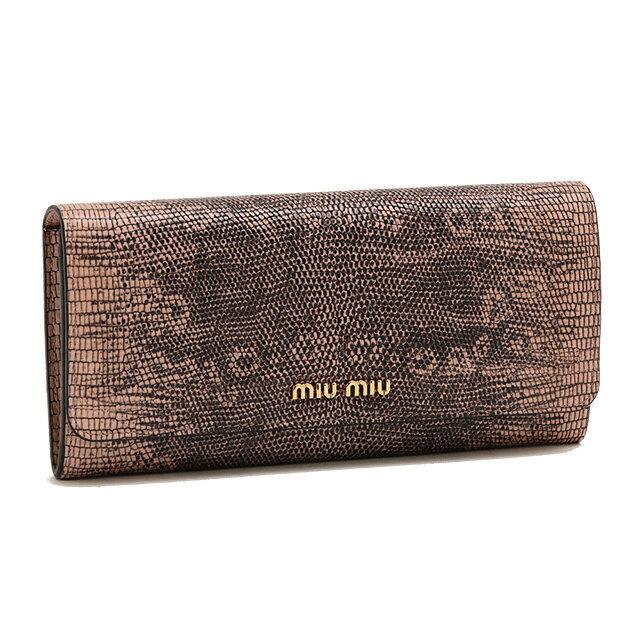 【クーポンで15%OFF】ミュウミュウ/MIUMIUIDケース付き・リザード型押しラウンドファスナー長財布(ピンクベージュ)5MH109 ST.LUCERTOLA(2ENW)ORCHIDEA