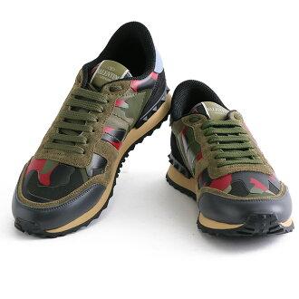 VALENTINO GARAVANI/华伦天奴嘎勒禁令锁头赛跑者、be roa×帆布×皮革运动鞋·鞋(伪装色、伪装)JY0S0723TCC E38/CAMOUFLAGE