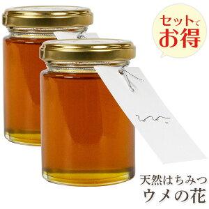 送料無料 UU ニホンミツバチ 蜂蜜 梅の花の 濃厚 天然はちみつ 2本セット 国産 非加熱 希少な日本蜜蜂の 純粋ハチミツ 日本製 ユーユー ギフト