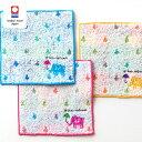 今治タオルブランド認定 ゾウと雨2 ミニハンカチ 15×15cm ブルー ピンク イエロー 3色 第2018-618号