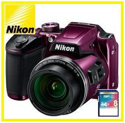 今ならSDカード8GB・カメラケース差し上げます【送料無料】Nikon・ニコン チルト式液晶光学40倍ズームデジカメ COOLPIX B500 プラム【楽ギフ_包装】【***特別価格***】