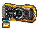 SDHCカード4GB付き【送料無料】リコー RICOH 防水 耐衝撃 防塵 耐寒 アウトドア デジカメ WG-50 オレンジ【***特別価…