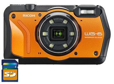 4/19発売 SDHCカード8GB付き【送料無料】リコー RICOH WG-6 オレンジ 防水 耐衝撃 防塵 耐寒 アウトドア GPS搭載 デジカメ CALSモード WG-6OR【***特別価格***】