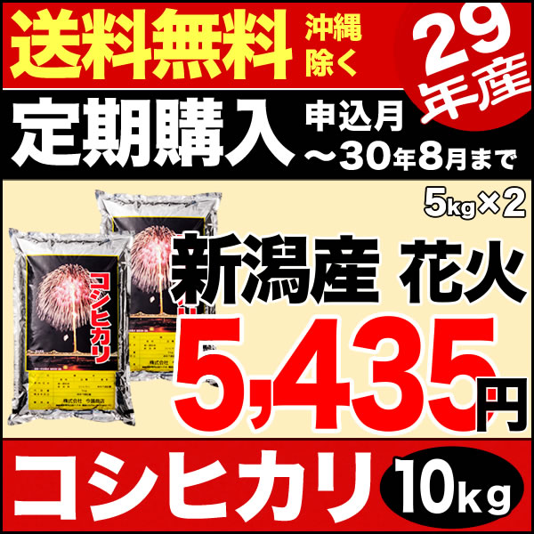 【定期購入】新潟産コシヒカリ 花火 10kg(5kg×2) 29年産 米 【送料無料】(沖縄を除く)