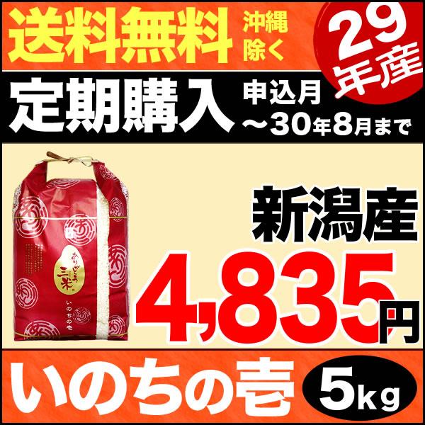 【定期購入】ありがとう三米 新潟産いのちの壱 5kg 29年産 【送料無料】(沖縄を除く)