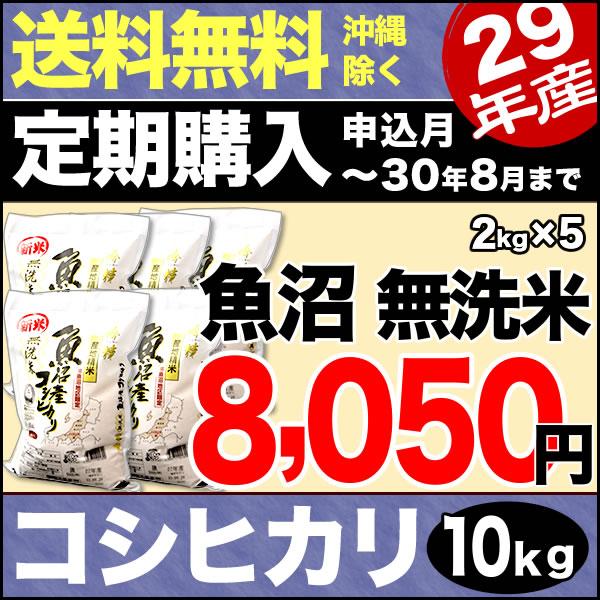 【定期購入】無洗米吟精 南魚沼産コシヒカリ 10kg (2kg×5) 29年産【送料無料(沖縄を除く)】