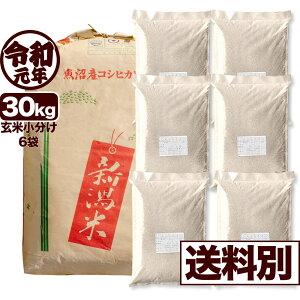 南魚沼産コシヒカリ 30kg 玄米 令和元年産 米 小分け6袋【送料別】