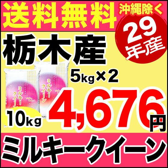 栃木県産ミルキークイーン 10kg(5kg×2袋) 平成29年産 【送料無料】(沖縄を除く)