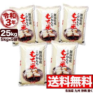 新米 こがねもち米 白米 令和3年産 新潟産 米 25kg 【送料無料】(北海道、九州、沖縄除く)