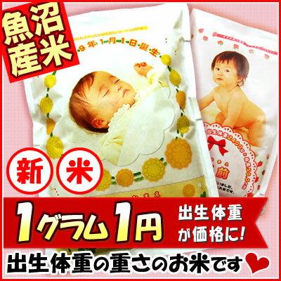 【新米】【30年産 魚沼産コシヒカリ】抱っこできる赤ちゃんプリント 出産内祝い 米 出生体重米 名入れ 内祝い 【送料別】
