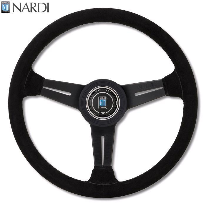 NARDI ナルディ N135 ブラックスエード&ブラックスポーク ブラックステッチ ステアリング 径360mm NARDIホーンボタン、ホーンリング付【お取り寄せ商品】【ハンドル、ステアリング】