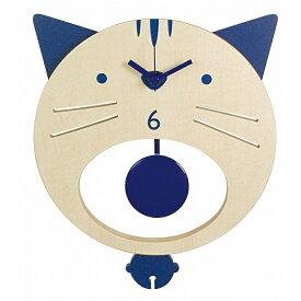 イシグロ 31221 木製振り子時計 ネコ ブルー【お取り寄せ製品】【振り子/クロック/時計】