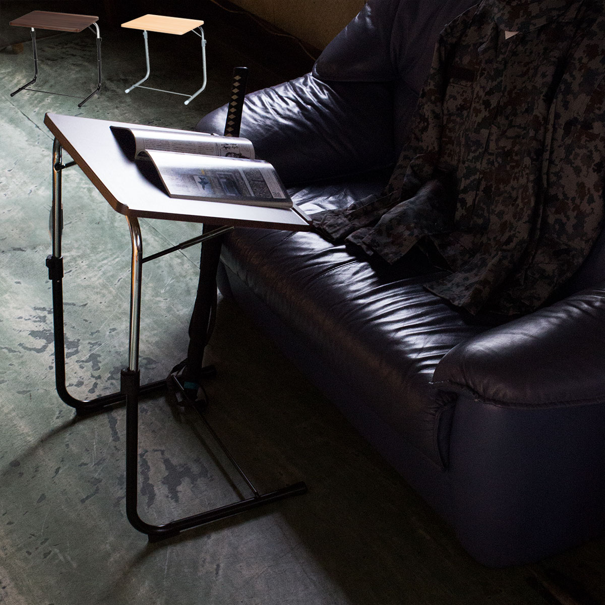 ソファに座ってノートパソコン作業や読書に最適天板が斜めになるフォールディングテーブル ノートパソコン テーブル FLS-1 ノートPC ソファ ベッド サイドテーブル 折りたたみ式 高さ調節 昇降式 木製 幅約50cm 簡易テーブル