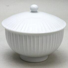 【蓋付湯のみ(蓋付湯呑み・蓋付湯飲み)】 白磁 立筋 白山陶器製 1客〜