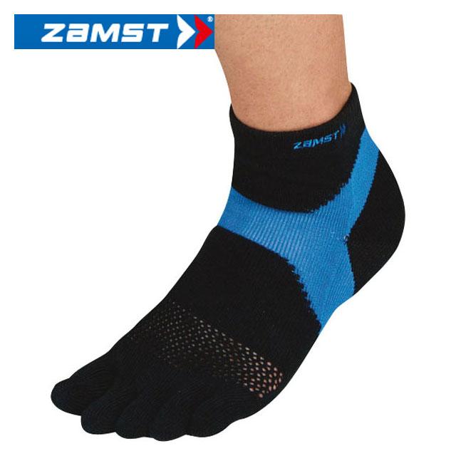 ザムスト 靴下 AS-1 5本指(ブラック×ブルー) Lサイズ ソックス 376303 ZAMST