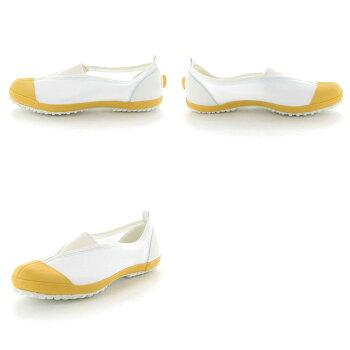 ムーンスター子供靴/メンズ/レディースカラーメッシュ02イエロームーンスター踵踏付け防止機能搭載の上履きMSシューズ