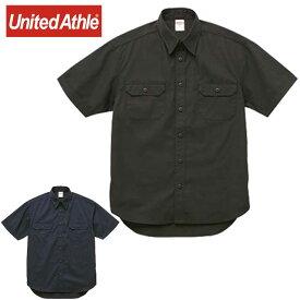 ユナイテッドアスレ メンズカジュアル T/Cワークシャツ UnitedAthle 177201 襟付きシャツ ウェア トップス 無地 シンプル 半袖ワークシャツ メンズ