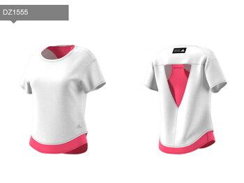 ☆ネコポスアディダスレディースTシャツ半袖ランニングADAPT2in1TシャツWトレーニングジョギングマラソンFTZ62即日出荷adidas